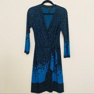 BCBGMaxAzria Wrap Dress -M blue blk,poly blend